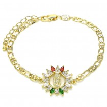 Gold Filled Fancy Bracelet Guadalupe Design With Multicolor Cubic Zirconia and White Micro Pave Polished Finish Golden Tone