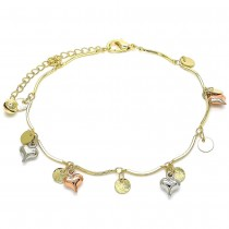 """Gold Filled 10"""" Charm Anklet Heart and Rattle Charm Design Polished Finish Tri Tone"""