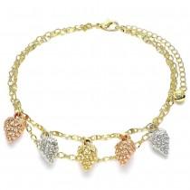 "Gold Filled 10"" Charm Anklet Strawberry Design Polished Finish Tri Tone"