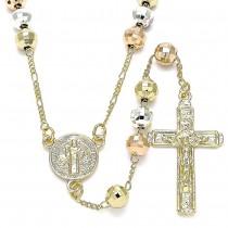 Gold Filled Medium Rosary San Benito and Crucifix Design Polished Finish Tri Tone
