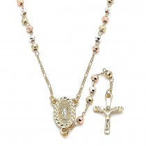 Gold Filled Thin Rosary Guadalupe and Crucifix Design Polished Finish Tri Tone