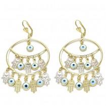Gold Filled Dangle Earring Hands Of God and Greek Eye Design Polished Finish Golden Tone
