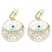 Gold Filled Dangle Earring Elephant and Greek Eye Design Polished Finish Golden Tone