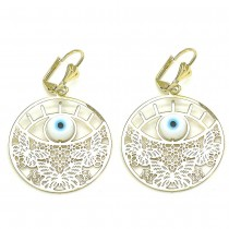 Gold Filled Dangle Earring Butterfly and Greek Eye Design Polished Finish Golden Tone