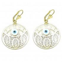 Gold Filled Dangle Earring Guadalupe and Greek Eye Design Polished Finish Golden Tone