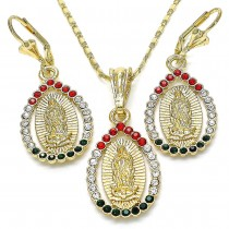 Gold Filled Earring and Pendant Adult Set Guadalupe and Teardrop Design With Multicolor Crystal Polished Finish Golden Tone