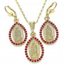 Gold Filled Earring and Pendant Adult Set Guadalupe and Teardrop Design With Garnet Crystal Polished Finish Golden Tone