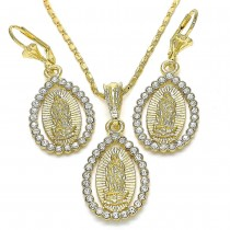 Gold Filled Earring and Pendant Adult Set With White Crystal Polished Finish Golden Tone