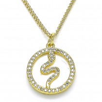 Gold Filled Pendant Necklace Snake Design \With White Micro Pave and Ivory Mother of Pearl Polished Finish Golden Tone