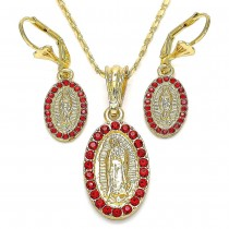 Gold Filled Earring and Pendant Adult Set Guadalupe Design With Garnet Crystal Polished Finish Golden Tone