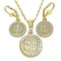 Gold Filled Earring and Pendant Adult Set San Benito Design With White Crystal Polished Finish Golden Tone