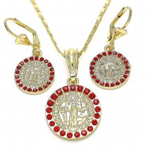Gold Filled Earring and Pendant Adult Set San Benito Design With Garnet Crystal Polished Finish Golden Tone