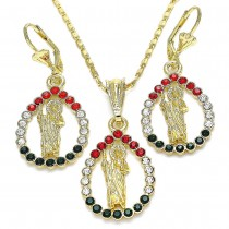 Gold Filled Earring and Pendant Adult Set San Judas and Teardrop Design With Multicolor Crystal Polished Finish Golden Tone