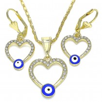 Gold Filled Earring and Pendant Adult Set Heart and Greek Eye Design With White Crystal Blue Enamel Finish Golden Tone