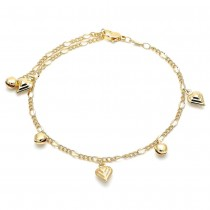Gold Filled Charm Anklet Heart and Rattle Charm Design Polished Finish Golden Tone