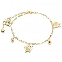 Gold Filled Charm Anklet Butterfly and Rattle Charm Design Polished Finish Golden Tone