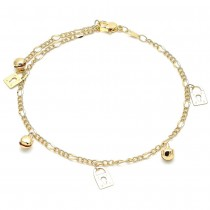 Gold Filled Charm Anklet Lock and Rattle Charm Design Polished Finish Golden Tone