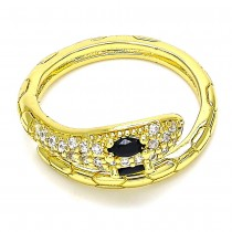 Gold Multi Stone Ring Snake Design With Black and White Micro Pave Polished Finish Golden Tone (One size fits all)