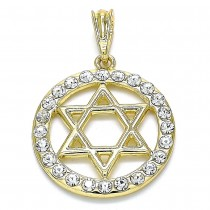 Gold Filled Religious Pendant Star of David Design With White Crystal Polished Finish Golden Tone