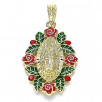 Gold Filled Religious Pendant Guadalupe and Flower Design Multicolor Enamel Finish Golden Tone
