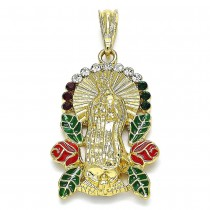 Gold Filled Religious Pendant Guadalupe Design With Multicolor Crystal Red Enamel Finish Golden Tone