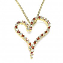 Gold Filled Pendant Necklace Heart Design With Garnet and White Cubic Zirconia Polished Finish Golden Tone