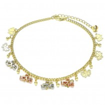 Gold Filled Charm Anklet Love and Butterfly Design Polished Finish Tri Tone