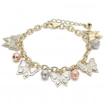 Gold Filled Charm Bracelet Butterfly and Ball Design Diamond Cutting Finish Tri Tone