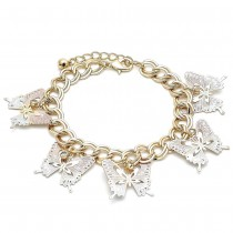 Gold Filled Charm Bracelet Butterfly Design With White Crystal Polished Finish Tri Tone
