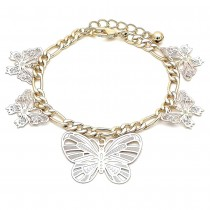 Gold Filled Charm Bracelet Butterfly Design Polished Finish Tri Tone