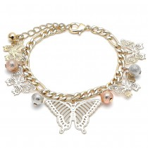 Gold Filled Charm Bracelet Butterfly and Ball Design Matte Finish Tri Tone