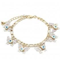 Gold Filled Charm Bracelet Greek Eye and Butterfly Design Polished Finish Tri Tone