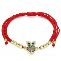 Gold Filled Adjustable Bolo Bracelet Owl and Ball Design With Ruby and Green Micro Pave Polished Finish Golden Tone