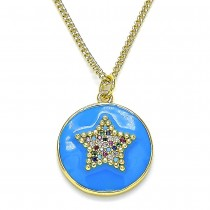 Gold Filled Pendant Necklace Star Design With Multicolor Micro Pave Blue Enamel Finish Golden Tone