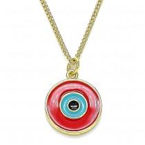 Gold Filled Pendant Necklace Greek Eye Design Red Enamel Finish Golden Tone