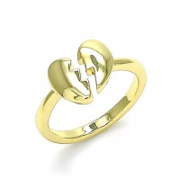 Gold Filled Broken Heart Adjustable Rings Polished Finish Gold Tone ( One Size Fits All )