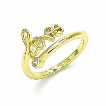 Gold Filled  Adjustable Love Ring Polished Finish Gold Tone ( One Size Fits All )
