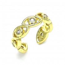 Gold Filled Greek eye Design Adjustable Rings Polished Finish Gold Tone ( One Size Fits All )