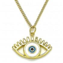 Gold Filled Pendant Necklace Greek Eye Design White Enamel Finish Golden Tone
