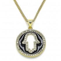 Gold Filled Hamsa Design Pendant Necklace With Black Enamel Micro Pave Polished Finish Golden Tone