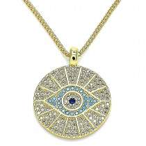 Gold Filled Pendant Necklace Greek Eye Design With Multicolor Micro Pave Polished Finish Golden Tone