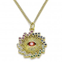 Gold Filled Pendant Necklace Greek Eye Design With Multicolor Micro Pave and Garnet Cubic Zirconia Polished Finish Golden Tone