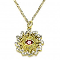 Gold Filled Pendant Necklace Greek Eye Design With White Micro Pave and Garnet Cubic Zirconia Polished Finish Golden Tone