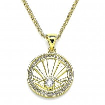 Gold Filled Pendant Necklace Greek Eye Design With White Cubic Zirconia and White Micro Pave Polished Finish Golden Tone