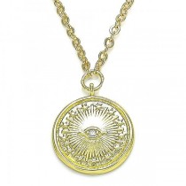 Gold Filled Pendant Necklace Greek Eye and Star Design With White Micro Pave Polished Finish Golden Tone