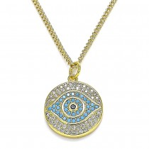 Gold Filled Greek Eye Design Pendant Necklace With Multicolor Micro Pave Polished Finish Golden Tone
