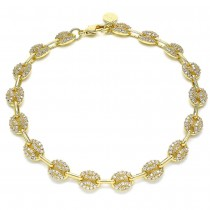 Gold Fill Fancy Anklet With White Micro Pave Polished Finish Golden Tone