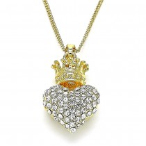 Gold Filled Pendant Necklace Heart and Crown Design With White Crystal Polished Finish Golden Tone