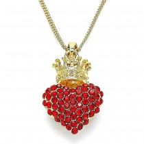Gold Filled Pendant Necklace Heart and Crown Design With Garnet Crystal Polished Finish Golden Tone