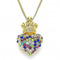 Gold Filled Pendant Necklace Heart and Crown Design With Multicolor Crystal Polished Finish Golden Tone